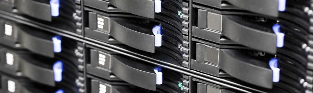 Storage array network with hard drives in a large datacenter. Data backup.